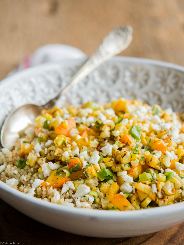 Grilled Corn and Peach Quinoa Salad