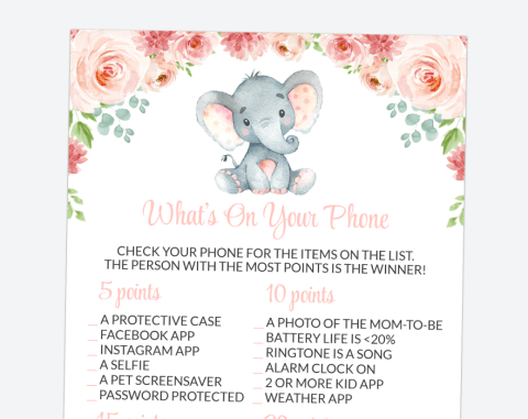Little Elephant What's On Your Phone, Baby Shower Game, Girl Baby Shower, Printable File, SH07