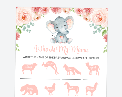 Little Elephant Who Is My Mama, Baby Shower Game, Girl Baby Shower, Printable File, SH07
