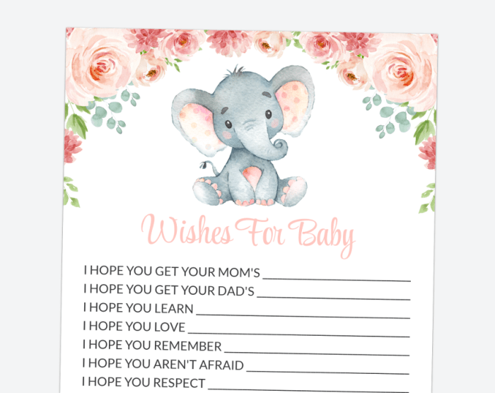 Little Elephant Wishes For Baby, Baby Shower Game, Girl Baby Shower, Printable File, SH07