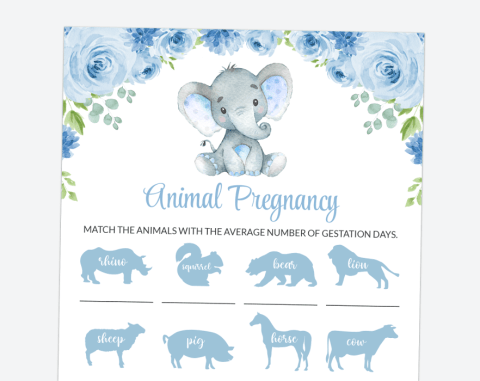 Baby Elephant Animal Pregnancy, Baby Shower Game, Boy Baby Shower, Printable File, SH08