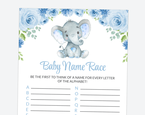 Baby Elephant Baby Name Race, Baby Shower Game, Boy Baby Shower, Printable File, SH08