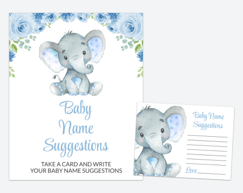 Baby Elephant Baby Name Suggestions, Baby Shower Game, Boy Baby Shower, Printable File, SH08