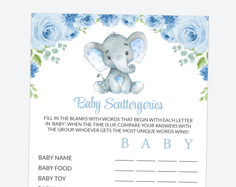 Baby Elephant Baby Scattergories, Baby Shower Game, Boy Baby Shower, Printable File, SH08