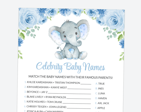 Baby Elephant Celebrity Baby Names, Baby Shower Game, Boy Baby Shower, Printable File, SH08