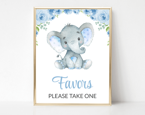 Baby Elephant Favors Sign, Baby Shower Signage, Boy Baby Shower, Printable File, SH08