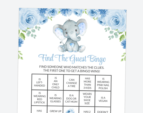 Baby Elephant Find The Guest Bingo, Baby Shower Game, Boy Baby Shower, Printable File, SH08
