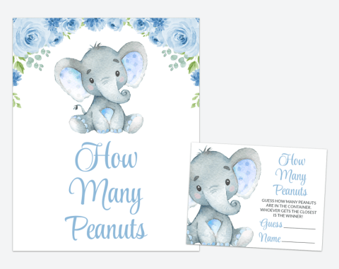 Baby Elephant How Many Peanuts, Baby Shower Game, Boy Baby Shower, Printable File, SH08