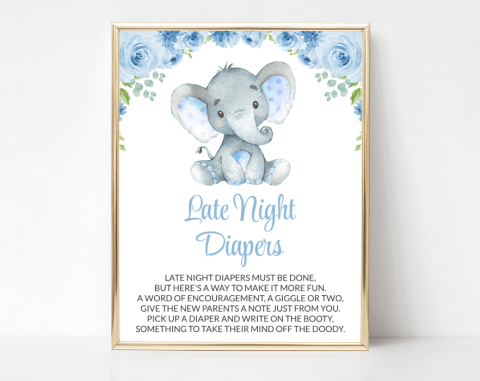 Baby Elephant Late Night Diapers, Baby Shower Game, Boy Baby Shower, Printable File, SH08