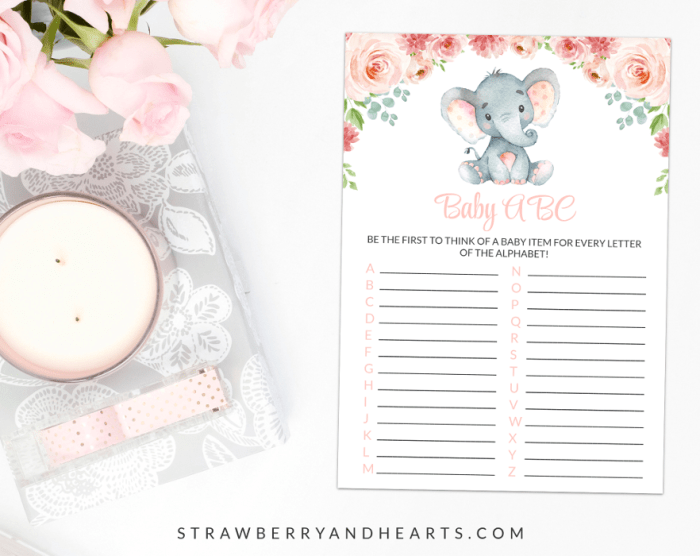 Little Elephant Baby ABC, Baby Shower Game, Girl Baby Shower, Printable File, SH07
