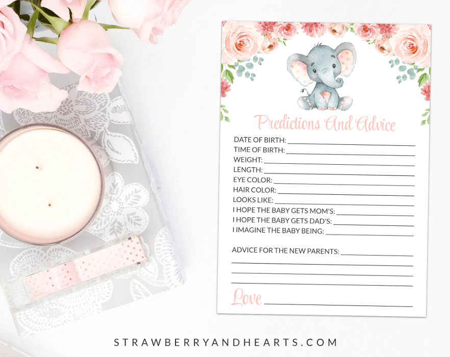 Little Elephant Baby Predictions And Advice, Baby Shower Game, Girl Baby Shower, Printable File, SH07