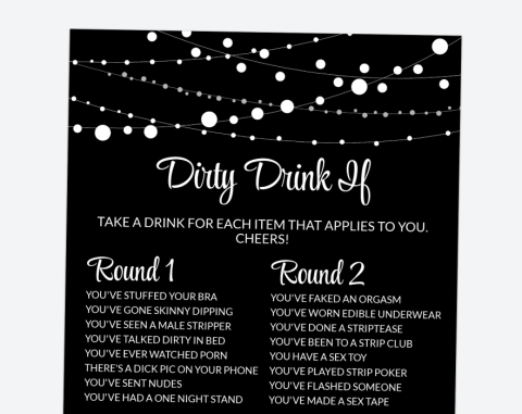 String Of Lights Dirty Drink If, Bachelorette Party Game, Printable File, SH16