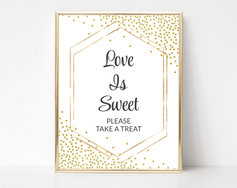 Gold Confetti Love Is Sweet Sign, Baby Shower, Bridal Shower, Wedding, Printable File, SH21 SH22 SH23
