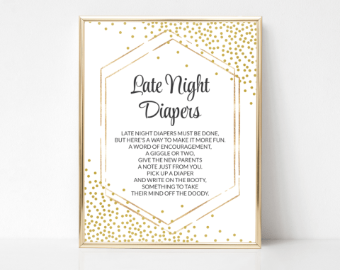 Gold Confetti Late Night Diapers, Baby Shower Game, Gender Neutral, Printable File, SH21