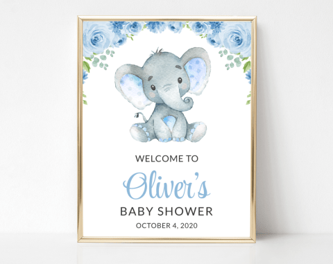 Baby Elephant Welcome Sign, Baby Shower Signage, Boy Baby Shower, Printable File, Edit Yourself, SH08