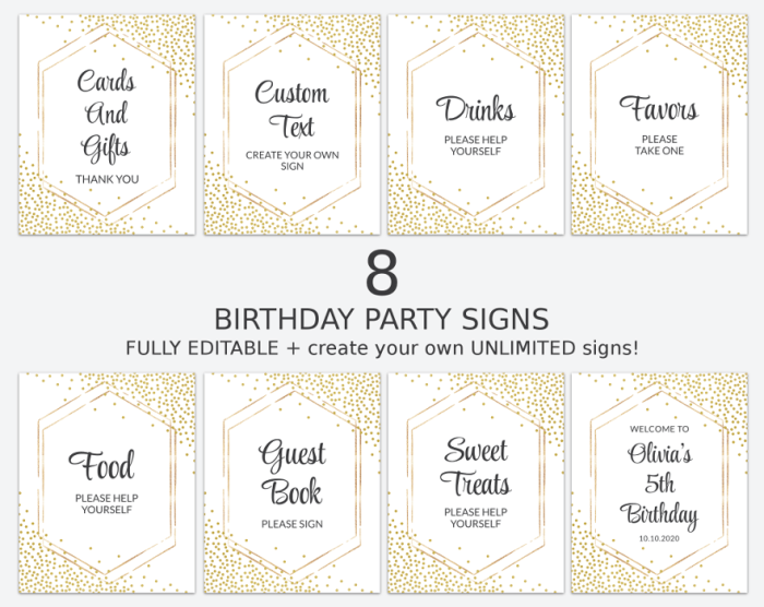Gold Confetti Birthday Signs Bundle, Set Of 8 Signs, Printable File, Edit Yourself, SH42