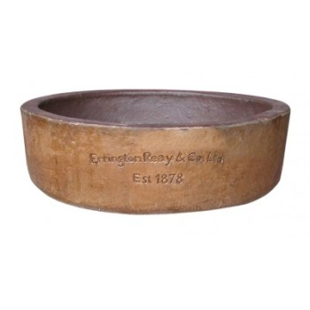 Errington Reay-90-OL-400x400 old leather low round planter available from strawberry garden centre uttoxeter