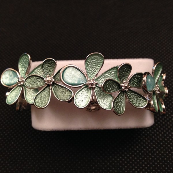 Equilibrium 49202 Overlapping Flowers Mint Green Bracelet available from Strawberry Garden Centre