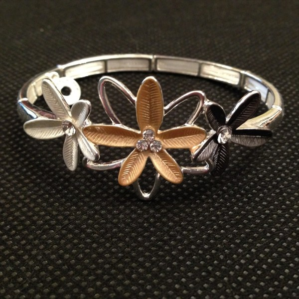 Equilibrium 59034 4 Tone Three Flowers Half Bracelet available from Strawberry Garden Centre, Uttoxeter
