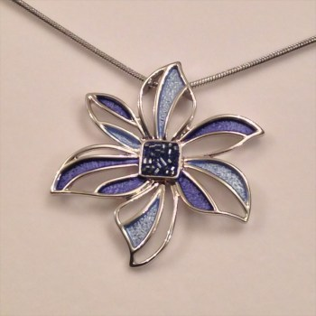 Equilibrium 64517 Cool Tones Flower Leave Necklace available from Strawberry Garden Centre, Uttoxeter