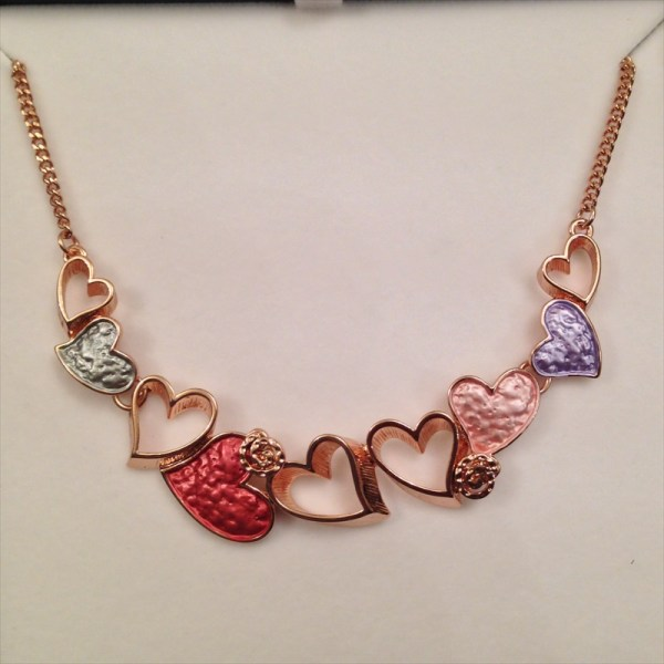 Equilibrium 64531 Warm Tones Hearts & Leaves Necklace available from Strawberry Garden Centre, Uttoxeter