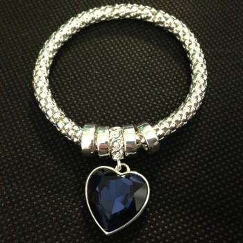 Equilibrium 69200 Mesh Blue Sparkle Heart Bracelet available from Strawberry Garden Centre, Uttoxeter