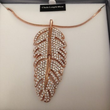 Equilibrium 69507 Rose Gold Plated Long Feather Necklace available from Strawberry Garden Centre, Uttoxeter