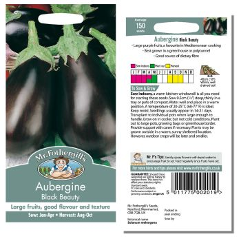 Mr. Fothergill Aubergine Black Beauty Seeds available from Strawberry Garden Centre, Uttoxeter