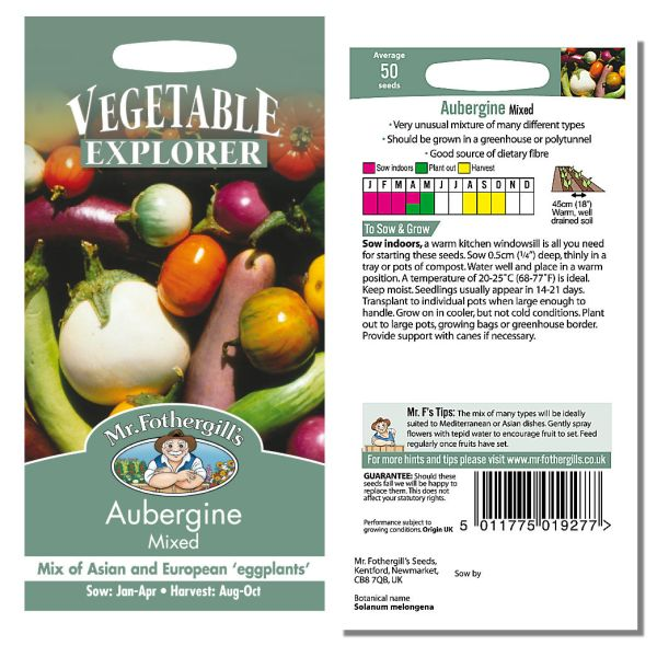 Mr. Fothergill Aubergine Mixed Seeds available from Strawberry Garden Centre, Uttoxeter