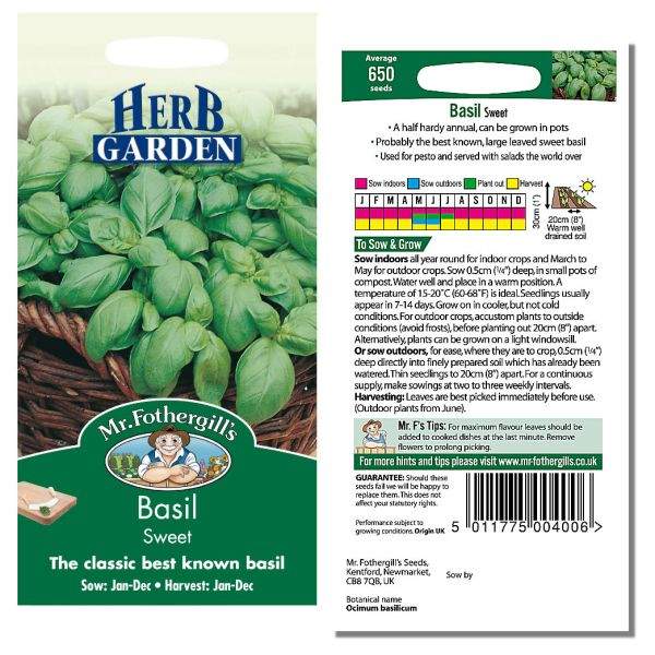 Mr. Fothergill Basil Sweet Seeds available from Strawberry Garden Centre, Uttoxeter