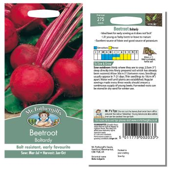 Mr. Fothergill Beetroot Boltardy Seeds available from Strawberry Garden Centre, Uttoxeter