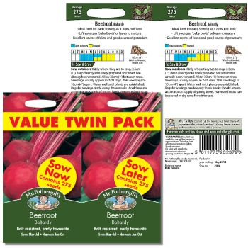 Mr. Fothergill Beetroot Boltardy Value Twin pack Seeds available from Strawberry Garden Centre, Uttoxeter