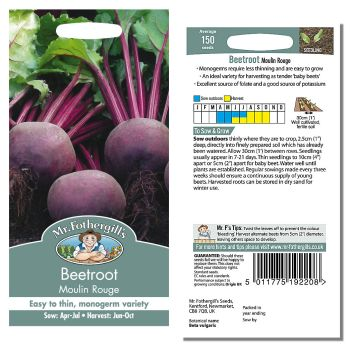 Mr. Fothergill Beetroot Moulin Rouge Seeds available from Strawberry Garden Centre, Uttoxeter