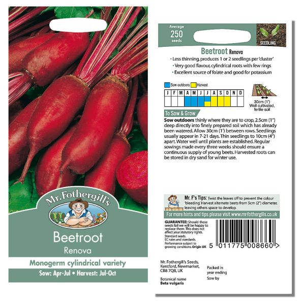 Mr. Fothergill Beetroot Renova Seeds available from Strawberry Garden Centre, Uttoxeter