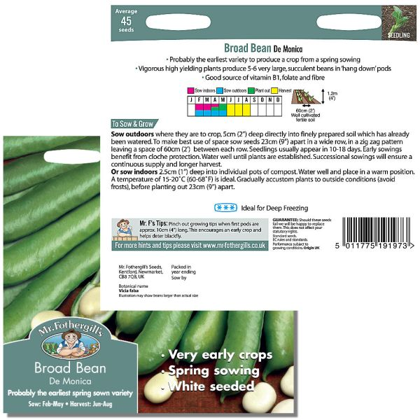 Mr. Fothergill Broad Bean De Monica Seeds available from Strawberry Garden Centre, Uttoxeter