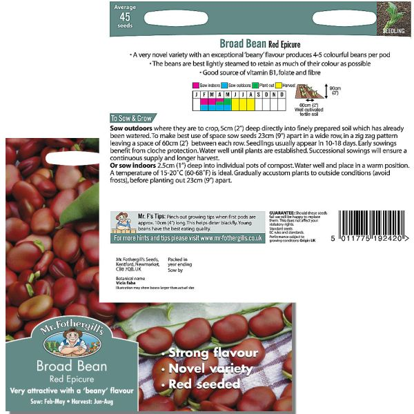 Mr. Fothergill Broad Bean Red Epicure Seeds available from Strawberry Garden Centre, Uttoxeter