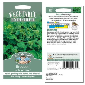 Mr. Fothergill Broccoli raab 60 days Seeds available from Strawberry Garden Centre, Uttoxeter