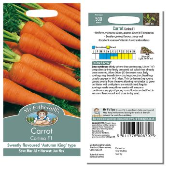Mr. Fothergill Carrot Cortina F1 Seeds available from Strawberry Garden Centre, Uttoxeter