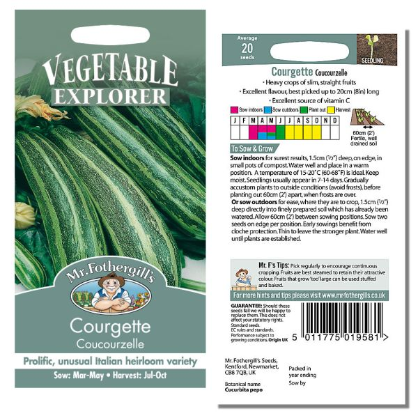 Mr. Fothergill Courgette Coucourzelle Seeds available from Strawberry Garden Centre, Uttoxeter