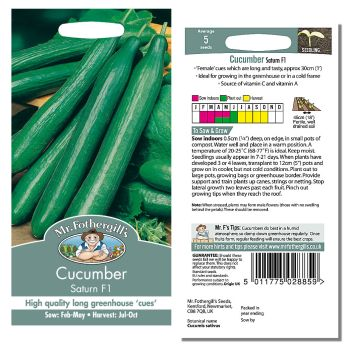 Mr. Fothergill Cucumber Saturn F1 Seeds available from Strawberry Garden Centre, Uttoxeter