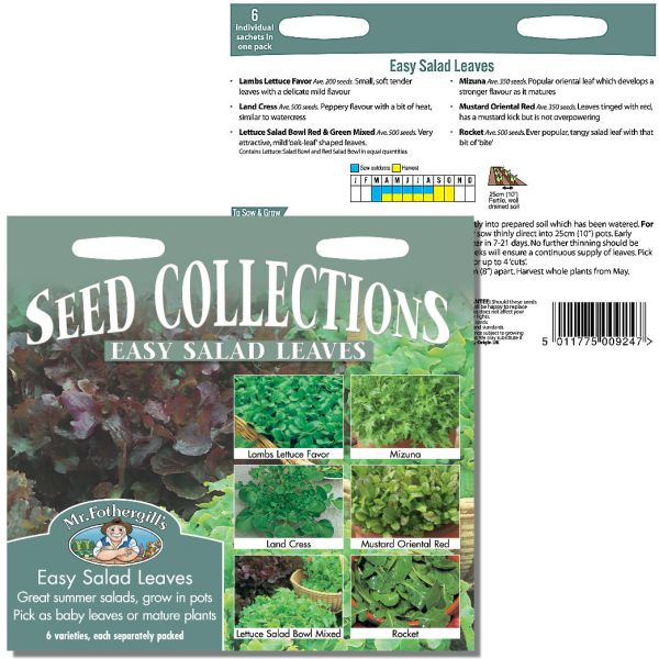 Mr. Fothergill Esay Salad Leaves Seed Collection available from Strawberry Garden Centre, Uttoxeter
