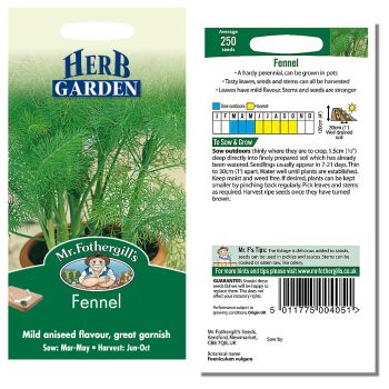 Mr. Fothergill Fennel Seeds available from Strawberry Garden Centre, Uttoxeter