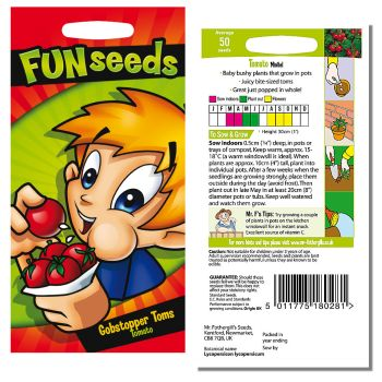 Mr. Fothergill Funseeds Gobstopper Toms Tomato Seeds available from Strawberry Garden Centre, Uttoxeter
