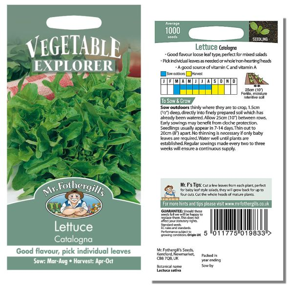 Mr. Fothergill Lettuce Catalogna Seeds available from Strawberry Garden Centre, Uttoxeter