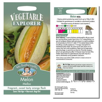Mr. Fothergill Melon Melba Seeds available from Strawberry Garden Centre, Uttoxeter