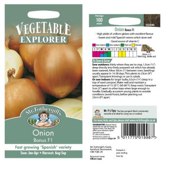 Mr. Fothergill Onion Bonus F1 Seeds available from Strawberry Garden Centre, Uttoxeter