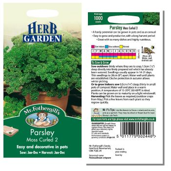 Mr. Fothergill Parsley Moss Curled 2 Seeds available from Strawberry Garden Centre, Uttoxeter