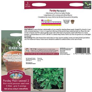 Mr. Fothergill Parsley Plain Leaved 2 Seed Mats available from Strawberry Garden Centre, Uttoxeter