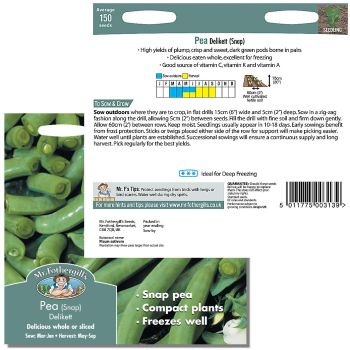 Mr. Fothergill Pea (snap) Delikett Seeds available from Strawberry Garden Centre, Uttoxeter