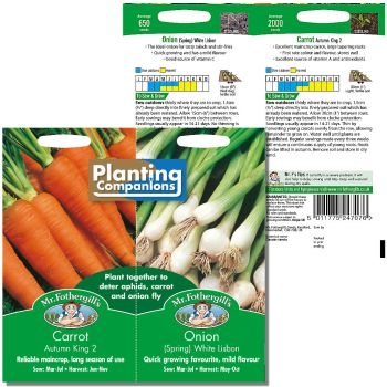 Mr. Fothergill Planting Companion Carrot Autumn King 2 &Onion (spring) White Lisbon Seeds available from Strawberry Garden Centre, Uttoxeter
